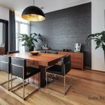 Elegant laminate wooden flooring Residence Dining Room Interiors House Renovation Structure Design Apartment Hanging Pendant lamp Black dining Chair brown wooden Table also Sideboard