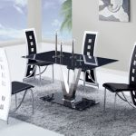 Fashionable Dining Chair Together With Frame On The Wall Along Glasses Window Corner Contemporary Eating Room Design Beautiful Grey Furry Rug Black GlassesEating Table