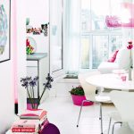 Fresh plus cute Eating area With White scheme With Small Round Dining Desk With Pink Lantern also Wall Painting Decor In Giant Windows Glass