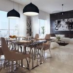 Gorgeous Dining area decorations With Black Spherical Pendant Lamps Glass Eating Desk Plus Brown Chair Additionally Marble Floor And Vast Glasses Window