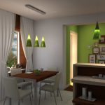 Inexperienced Pendant Lamp As Well White Curtain Glasses Window Beside Wood Eating Table Plus White Eating Chair elegant kitchen set inexperienced kitchen wall stained