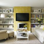 Lovely Yellow Floral Wallpaper plus White Desk On Brown fur Rug As Nicely Bookshelf On The Wall Awesome Small Dwelling Room Design With widescreen television Setup Above Fireplace