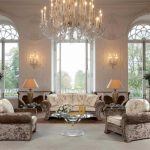 Luxury Crystal Chandelier Glasses Rounded Desk As Properly Lamps Desk Sofa plus Candle Lighting On The Wall white wooden frame bay Window