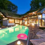 Luxury Lighting concept In Small Modern Wooden House Filled With Lighting Plus Distinctive Seating In Poolside Lovely Swimming Pool