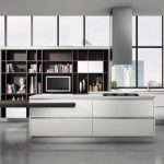 Minimalist Kitchen Furniture decorations With White Cabinet Kitchen also elegant Pendant Lamp brown stained Picket Desk  Kitchen Island