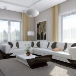 Minimalist Living Area Design Effectively Pendant Lamp Above White Table also White Rug Beneath Including Sectional White Couch also Lamp Standing Corner Cream coloured Curtain