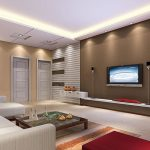 Minimalist interior Design 40 inch widescreen Television Wall Mount Vases Additionally Lighting Ceiling Together with Glass Table On Striped Fur Rug Also Brown Painting Wall