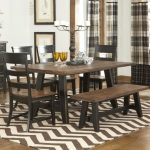 Modern Dining Room concept Striped Rug Underneath The Wood Dining Table Set Additionally Striped Curtain Glasses Window