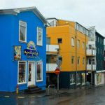 Norway Colourfull shopping complex blue stained exterior yellow stained exterior black home exterior