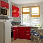 Stunning Trendy Kitchen Design In Small room With Pink Shiny Cupboard Kitchen also Blue Counter Stools Plus White Countertop plus minimalist Glasses Window