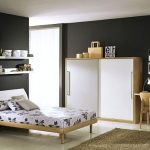 amazing black and white teenage bedroom theme with small flowery patterned bedcover and elegant large box cabinet feat small office space in glossy white tile flooring
