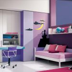 amazing spacious teenage girl bedroom with cute violet accent also cute built-in office desk and gorgeous sofa bed  feat wall mount shelves design in white tile flooring
