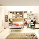 amazing teenage boys room with elegant stripe bed also wonderful wallmount bookshelves also cozy small office space with interesting creamy wall accent in laminate flooring concept