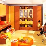 amazing teenage girl bedroom with wonderful bunk bed also interesting wooden wall mount cabinet and gorgeous orange accent with small playroom area with large carpeting floor