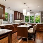amazing woodem kitchen concept with magnificent pendant lamp also sturdy wooden kitchen cabinet with granite countertop with amazing green view