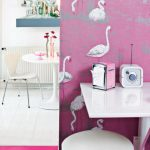 animal cute wallpaper pink wall minimalist dining chair desk clock