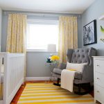 astonishing striped yellow and white rug also wonderful grey rocking chair with white cradle also decorative flower pattern curtain