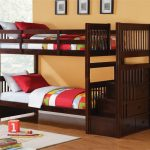 astonishing teak wood bunk bed with exotic red and green sheeets also interesting orange painted wall with amazing playground area in sturdy tile flooring design