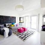astonishing teen hangout room with elegant gray sofa bed also enchanting shocing pink table with elegant alphabet rug and cute chalkboard wall in laminate white flooring