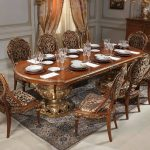 awesome Eating room Table Design with Brown Floral Eating Chair On Carpet As Effectively White Gold Panel Wall Decor Alongside With Floral Curtain Glasses Window In Corner Room