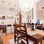 awesome Pendant Lamps with Picket Dining Desk Set And White Rug Beneath Additionally Bar Stools In The Nearby Fascinating Small Residence Design