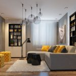 awesome Small Table On White Fur Rug Together with Yellow Benches On Picket Floor Together with Pendant Lamp And Bookshelf On The Wall Small Living Room Inside Design With Gray Yellow Pillow beautiful Couch