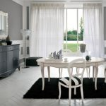 Beautiful Glasses Cabinets In The Close By Plus White Curtain Glasses Square Window Rustic Brown Eating Room Fur Rug Ornament Under White Dining Desk Set