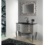 beautiful Mirror Wall Mounted Along With Black Rug On Ground Elegant Vintage Toilet Decorating With Silver Vanity Sink Together with Black Granite Countertop
