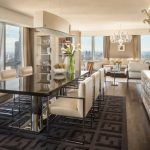 beautiful Residence Interior Design In Eating area Together with Grey Fur Rug Black shiny dining Desk Set Plus silver Dining Chair Also Lamp Desk In The Close by