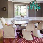 beautiful White Chair Including Green Classic Pendant Lamp Additionally White Brown Painting Wall plus Small Glasses Window cute Dining Room Design With Crimson Striped Rug Under The Wooden Dining Desk