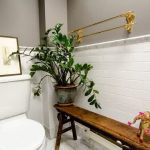 beautiful bathroom with fresh plant pot inside also ravishing goldern towel rack with wonderful wooden seating with tile walling