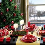 black dining table yellow table cloth beautiful christmas tree with red ball ornaments white plating set glass candelabra pine ornament beige framed window