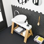 black painted floor black midway ceramic floor white painted wall unique shaped mirror Artceram vessel sink product black and white bathroom idea latest small bathroom design
