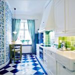 blue and white ceramic tiled floor blue floral wallpaper white kitchen cabinets blue and white drapery white marble kitchen countertop green ceramic tiled backsplash colorful kitchen design ideas kitchen in blue color