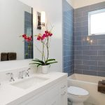 blue ceramic tile wall white painted wall white countertop white bathroom cabinets integrated sink white vessel bathtub potted orchid simple wall mounted lamp bathroom plant options