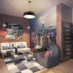 bricked wall city view wallpaper light wooden floor colored bedroom rug white leathered sofa black minimalist pendant lamp black leathered chair teenage bedroom design