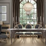brown rug elegant brown dining chairs with wood frame grey wood dining table grey dining armchairs silver candelabras beautiful crystal pendant lamp grey wall brass curtain wood table