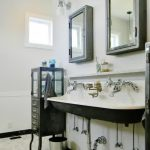 chic bathroom with vintage cabinet also ravishing white sink with elegant wooden medicine cabinet witn tile flooring