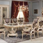 classic Dining area Desk concept With White Gold Chair Together with fur Rug Underneath The Table Also Elegant Dresses plus Furnishings Shelves In The Close by And Purple Curtain Window also Wooden Wallpaper