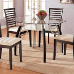 classic Dining area decoration With Round Glasses Dining Table That includes Wooden Eating Chair Set On brooken white fur Rug As Well Gray Paint Wall Coloration brown wooden Flooring Ideas