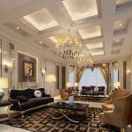 classic Interior Design In Residing Room As Well Luxury Chandelier In Beautiful Ceiling Including Black Table On Brown Rug also Black Sofa also Twin Brown cozy Chair