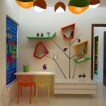 contemporary kids room with fun wall mount decorative shleves and cute colorful pendant lamp with elegant white study desk in concrete flooring concept