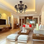 cozy Home Interior Design In Residing area With beautiful Chandelier Also Wood Desk On Rug also widescreen Tv Wall Mount Wood Self-importance Desk