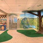 creative design of basement kids room with cute nature wallpaper and interesting decorative ceiling with wonderful stone flooring