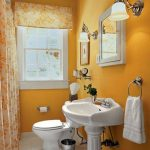 cute Small White Sink Yellow Interior Design Theme The Small House Restroom Design Concepts