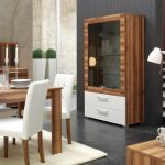 Cute Wooden Dining Table Decorations That Includes White Leather Based Dining Chair White Fur Rug As Properly Cupboard Grey Partition Plus Stairs In The Close By