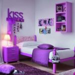 cute teenage girl bedroom with beautiful violet accent and gorgeous teak wood bed also amazing wall mount cabinet with warm fur rug