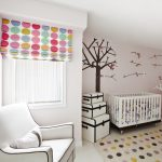cute white wall white ceiling white ceramic floor white armchair white framed windor contemporer white crib white blue ribbon decoration colorful polcadot curtain tree and birds wall decoration