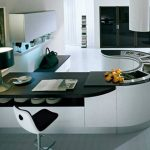 eccentric kitchen remodeling ideas with wonderful u-shaped kitchen island also wonderful black and white accent with amazing large glass door in grey tile flooring