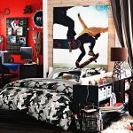 eccentric teenage boys room with camouflage theme also amazing red wall with wall mount accessories also interesting small fur rug feat comfy bron sofa in hardwooden flooring design